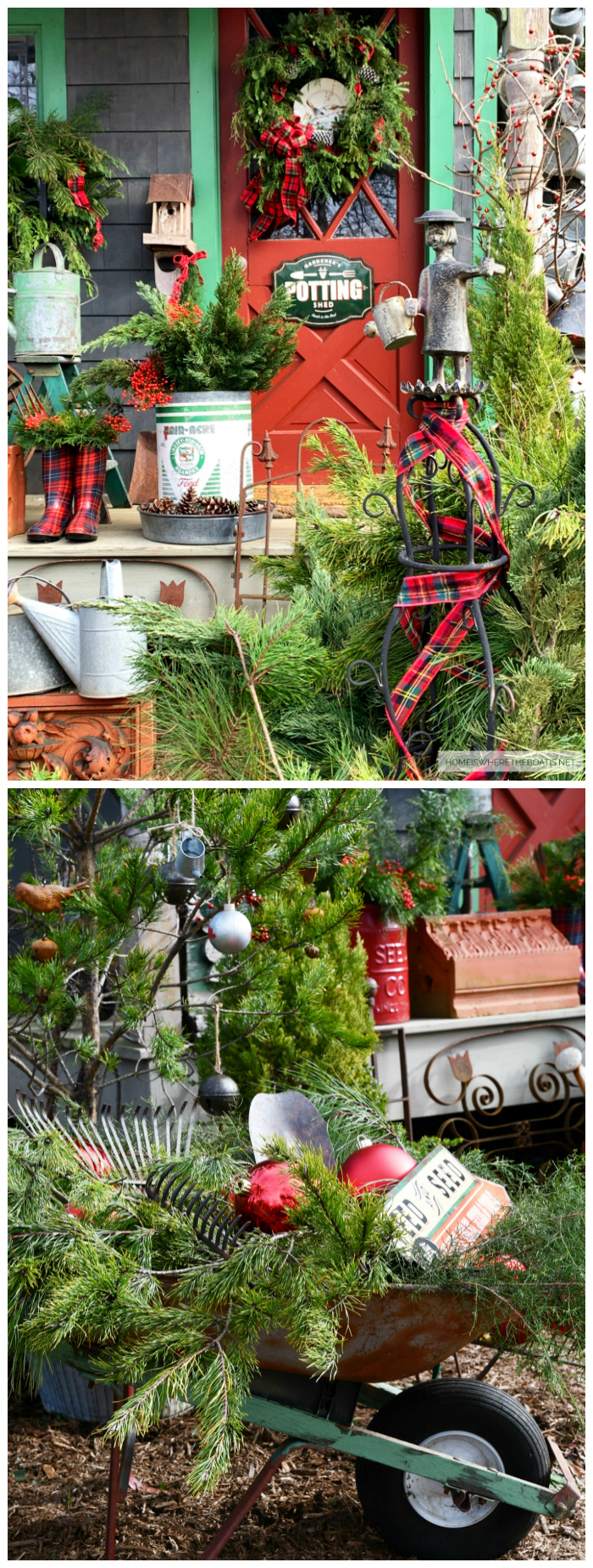 Christmas Around the Potting Shed | ©homeiswheretheboatis.net #shed #christmas #greenery #garden