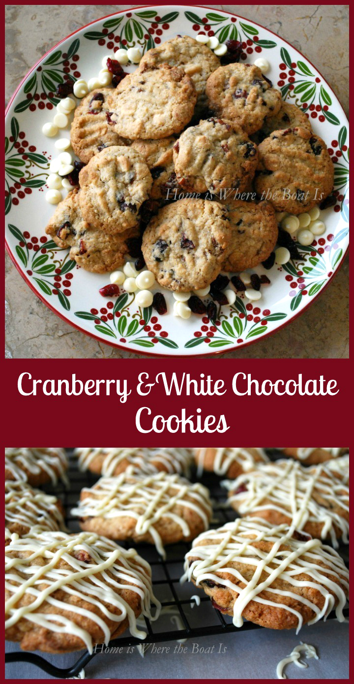 Cranberry and White Chocolate Cookies | ©homeiswheretheboatis.net #cookies #recipes