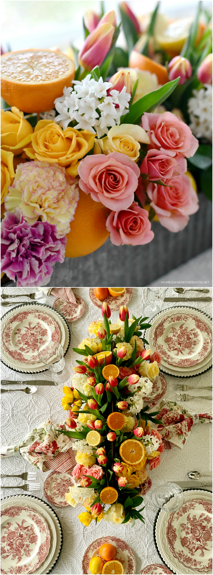 Floral Arrangement with Tulips, Roses and Citrus + Pink Transferware Table | ©homeiswheretheboatis.net #flowers #DIY #tablescapes #citrus