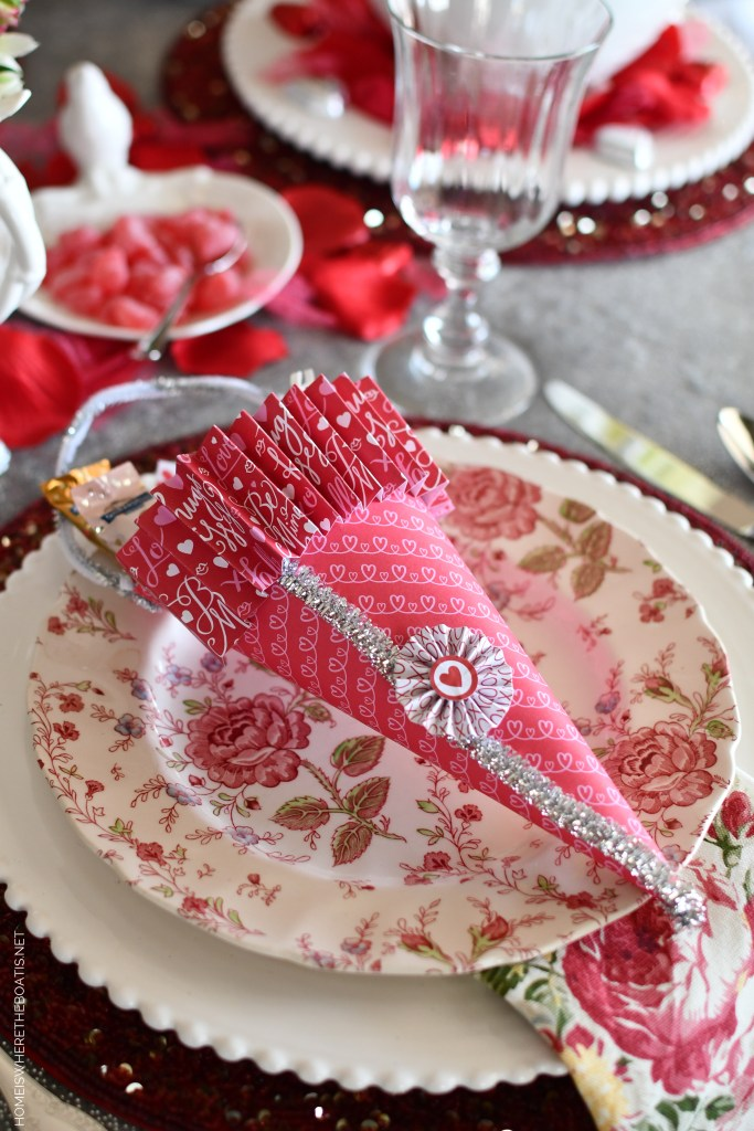 DIY Candy Cones for Valentine's Day and tablescape | ©homeiswheretheboatis.net #valentinesday #tablescapes