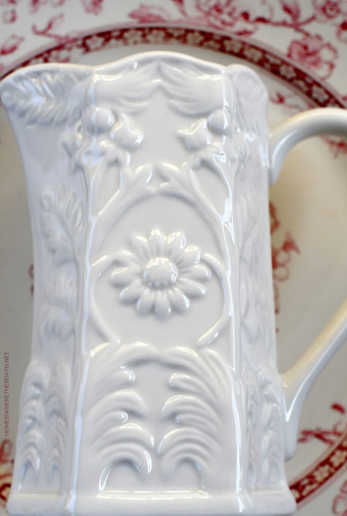 Floral relief white pitcher | ©homeiswheretheboatis.net #valentinesday #flowers