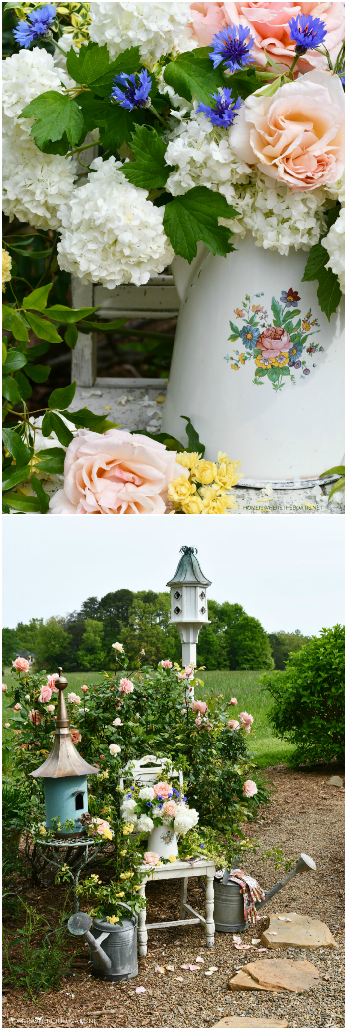 Garden arrangement in a vintage enamelware pitcher, filled with Snowball Viburnum. Bachelor Buttons, Lady Banks and Mother of Pearl Roses | ©homeiswheretheboatis.net #flowers #garden