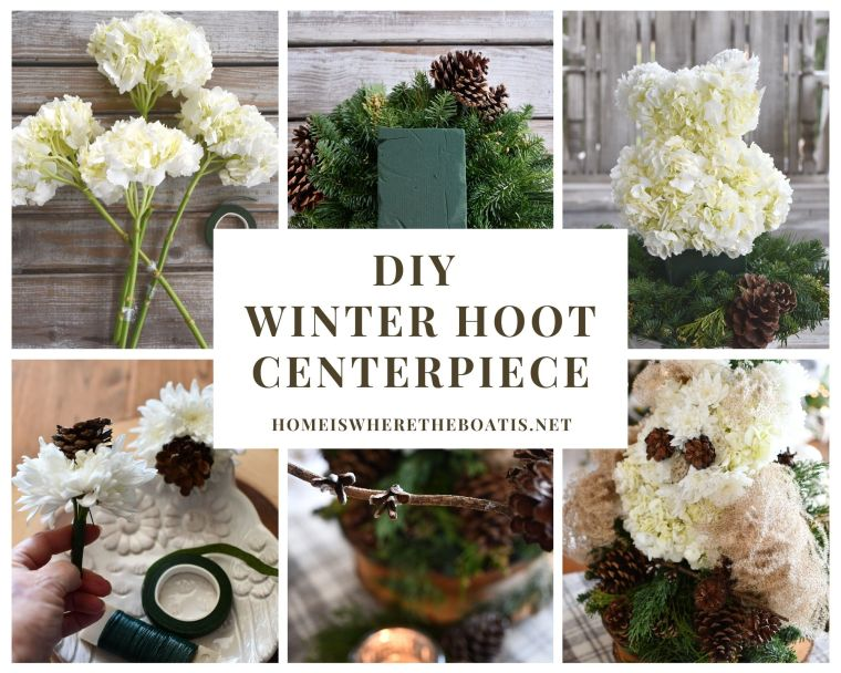 "DIY Winter ""Hoot"" Owl Flower Centerpiece and Table 