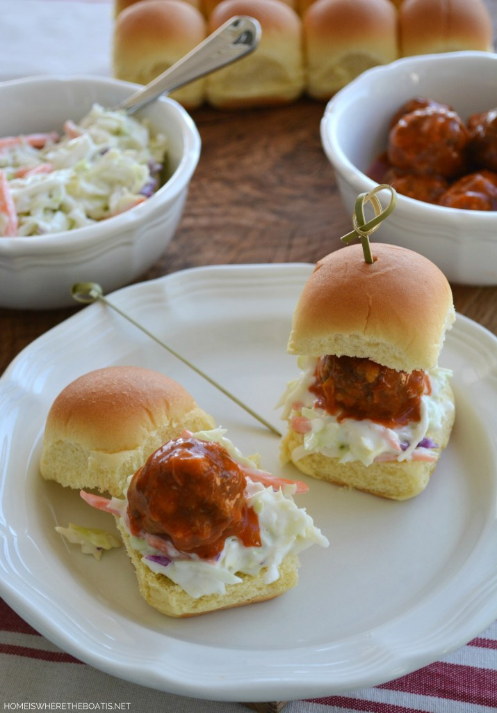 Buffalo Meatball Sliders with Blue Cheese Cole Slaw | ©homeiswheretheboatis.net #makeaheadrecipe #buffalomeatballs #footballfood #Superbowlfood