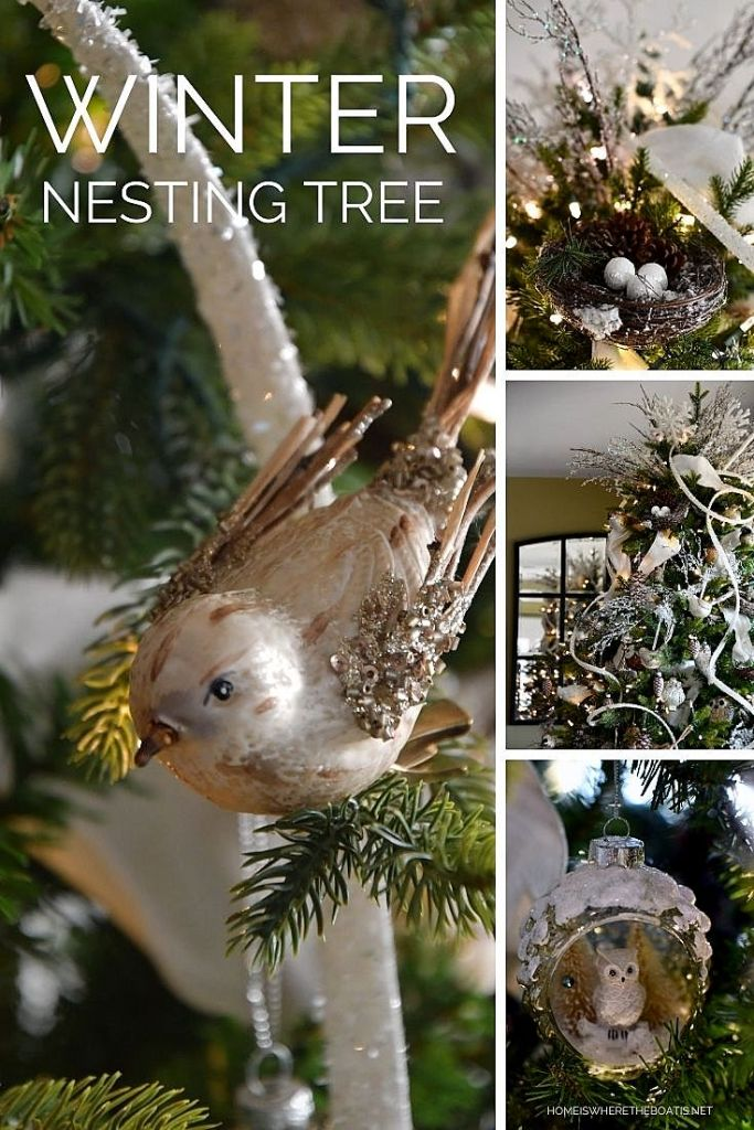 Transition from Christmas to Winter and extend the twinkle season by adding some warmth and cheer in January with a Winter Nesting Tree! | ©homeiswheretheboatis.net #christmastree #wintertree #birds