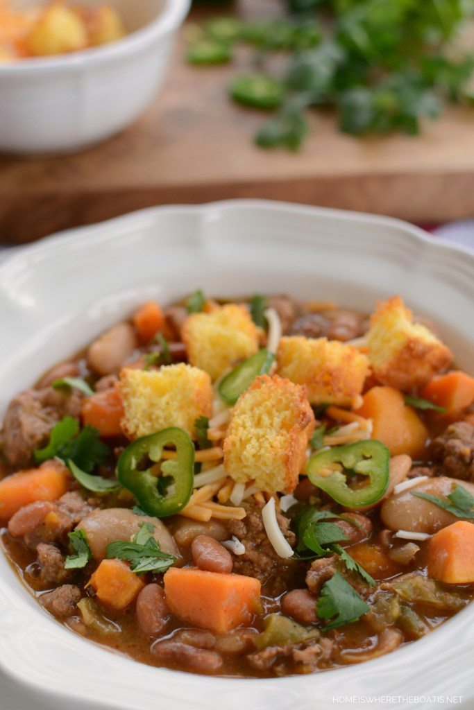 Slow Cooker Smoky Turkey and Sweet Potato Chili with Cornbread Croutons | ©homeiswheretheboatis.net #chili #recipe #slowcooker