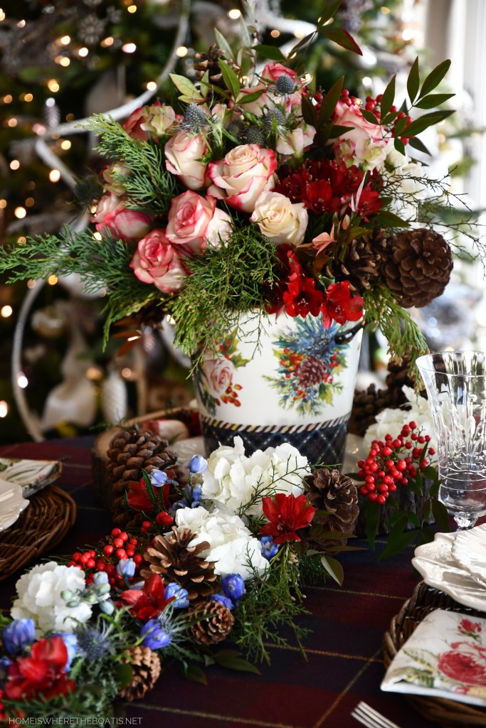 Midwinter Flowers and Tablescape with floral runner | ©homeiswheretheboatis.net #winter #flowers #tablescape Highbanks Wine Chiller with flowers | ©homeiswheretheboatis.net #winter #flowers #tablescape #mackenziechilds