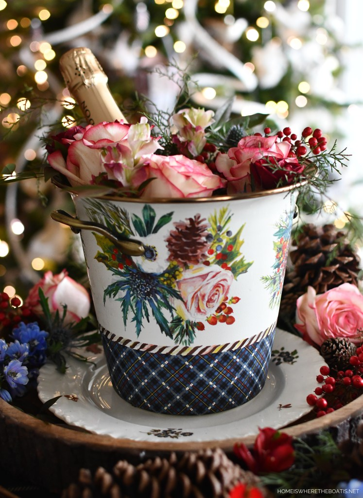 Highbanks Wine Chiller with flowers   ©homeiswheretheboatis.net #winter #flowers #tablescape