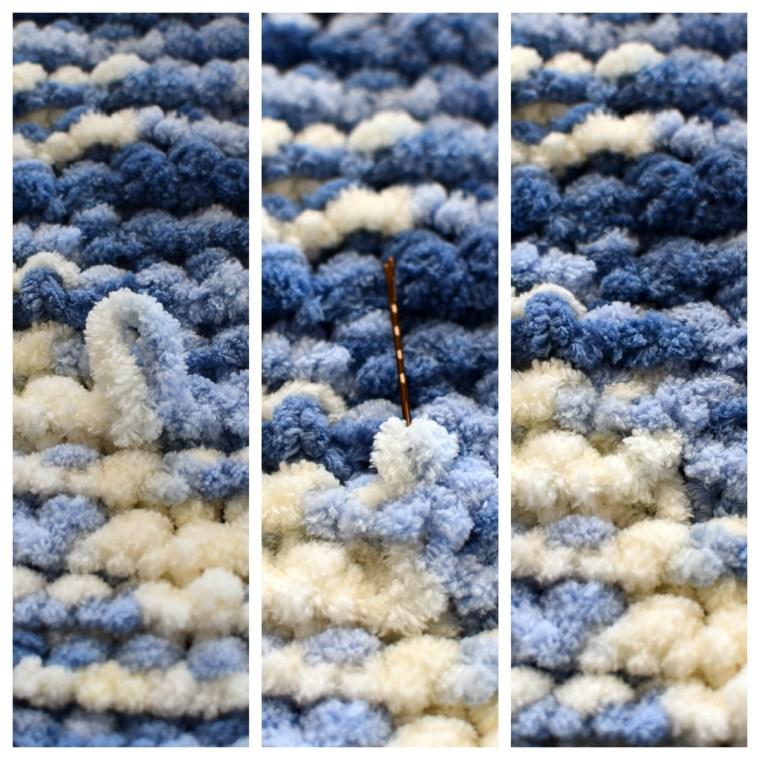 How to Conceal Dropped Loop DIY Throw Blanket | ©homeiswheretheboatis.net #DIY #craft #yarn #noknit #blanket