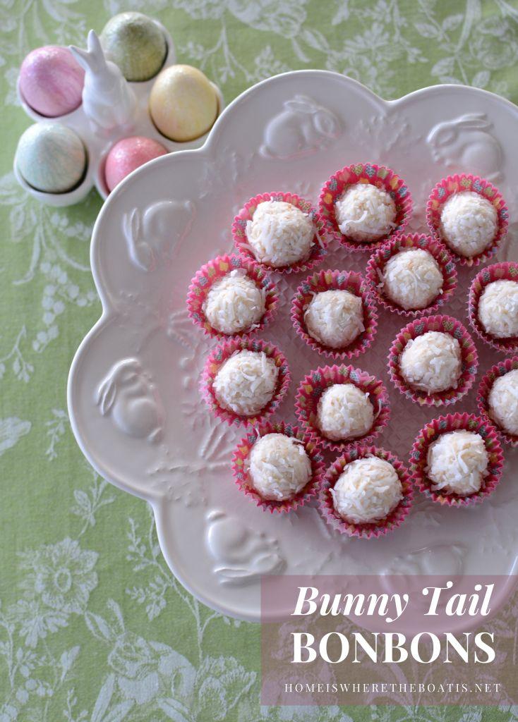 Bunny Tail Bonbons, aka White Chocolate-Cheesecake Truffles | ©homeiswheretheboatis.net #nobake #makeahead #easter #recipe