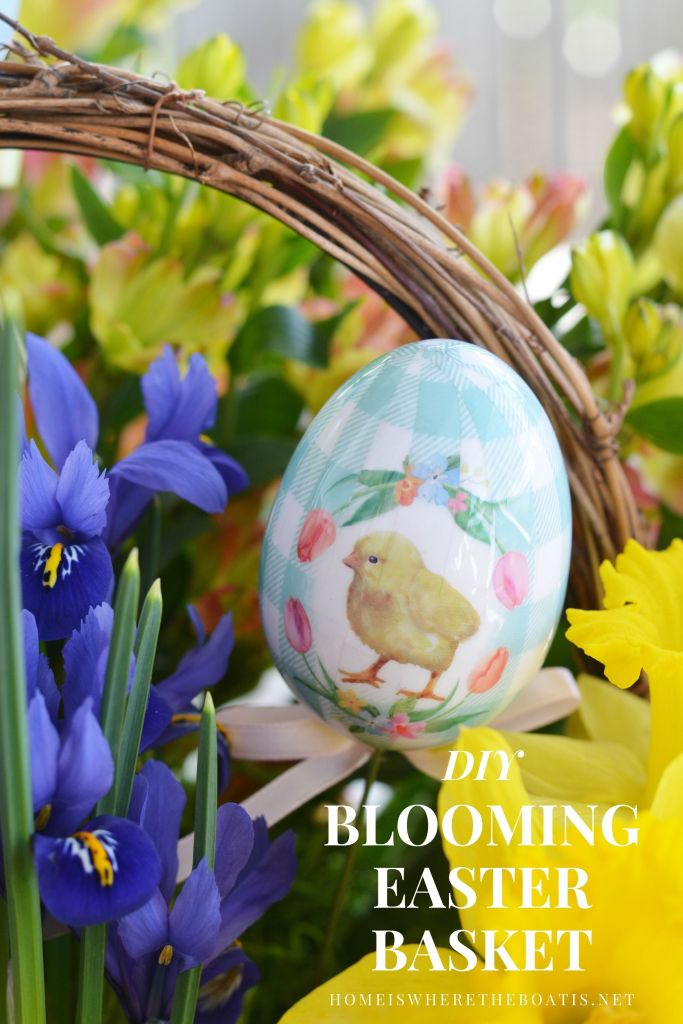 Create a Blooming Easter Basket DIY | ©homeiswheretheboatis.net #DIY #flowerarrangement #Easter #basket #spring