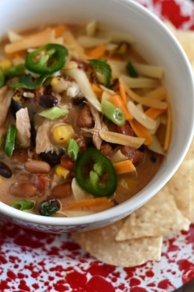 Creamy Chicken Tortilla Soup | ©homeiswheretheboatis.net #soup #recipes