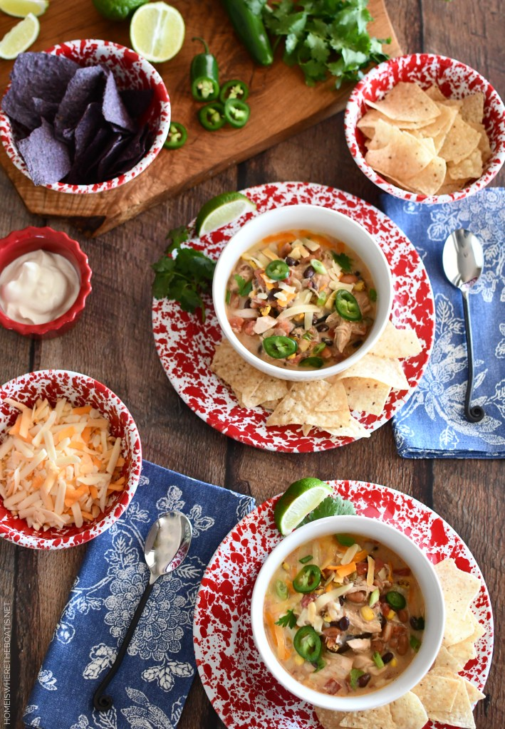 Creamy Chicken Tortilla Soup | ©homeiswheretheboatis.net #soup #recipes