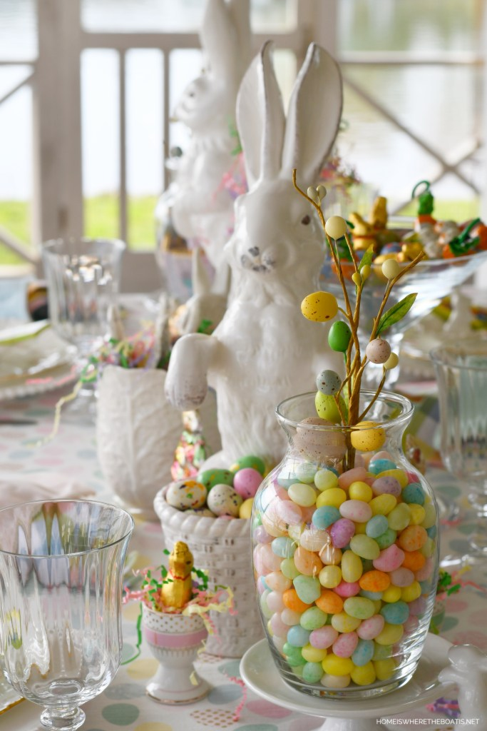 Cottontail Confectionery Tablescape | ©homeiswheretheboatis.net #easter #tablescapes #bunny