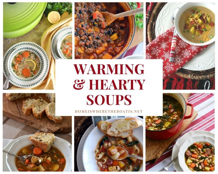 Warming and hearty soup recipes | ©homeiswheretheboatis.net #soup #recipes