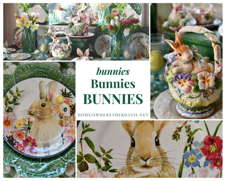 Bunnies, bunnies, bunnies spring tablescape | ©homeiswheretheboatis.net #spring #easter #tablescape #rabbits