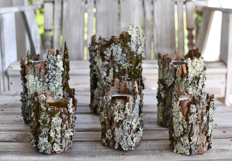 DIY Tree Bark Flower Vases | ©homeiswheretheboatis.net #diy #craft #flowers