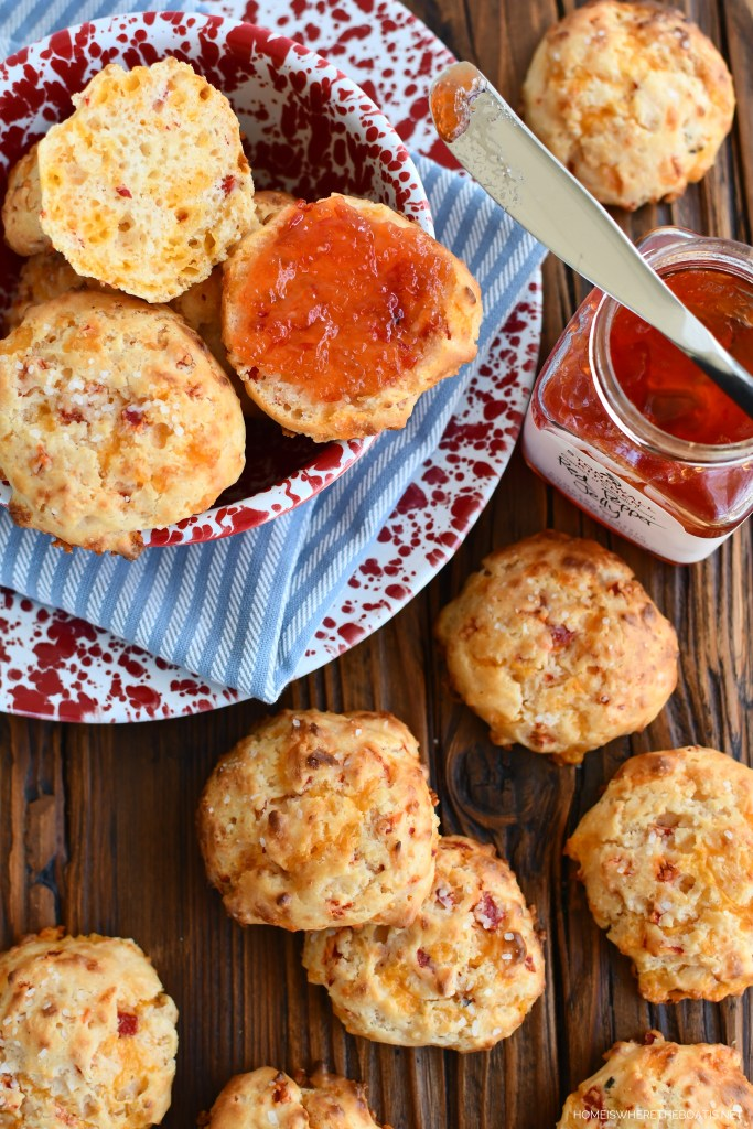 Pimento Cheese Drop Biscuits with Pepper Jelly | ©homeiswheretheboatis.net #easy #recipe #biscuits #cheese