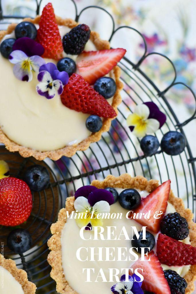 Mini Lemon Curd & Cream Cheese Tarts   ©homeiswheretheboatis.net #teaparty #recipes