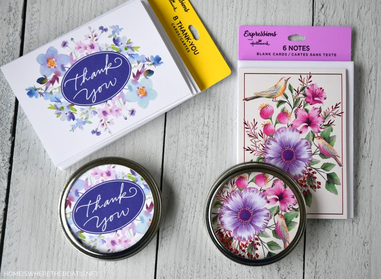 Use inexpensive note cards to jar lids for sugar scrub | ©homeiswheretheboatis.net #diy #craft #easy