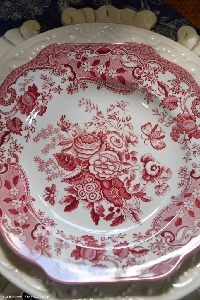Spode Archive Collection 'Blue Rose' | ©homeiswheretheboatis.net #redwhiteandblue #transferware #flowers #tablescape #memorialday