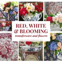 Red, White and Blooming Transferware and Flowers