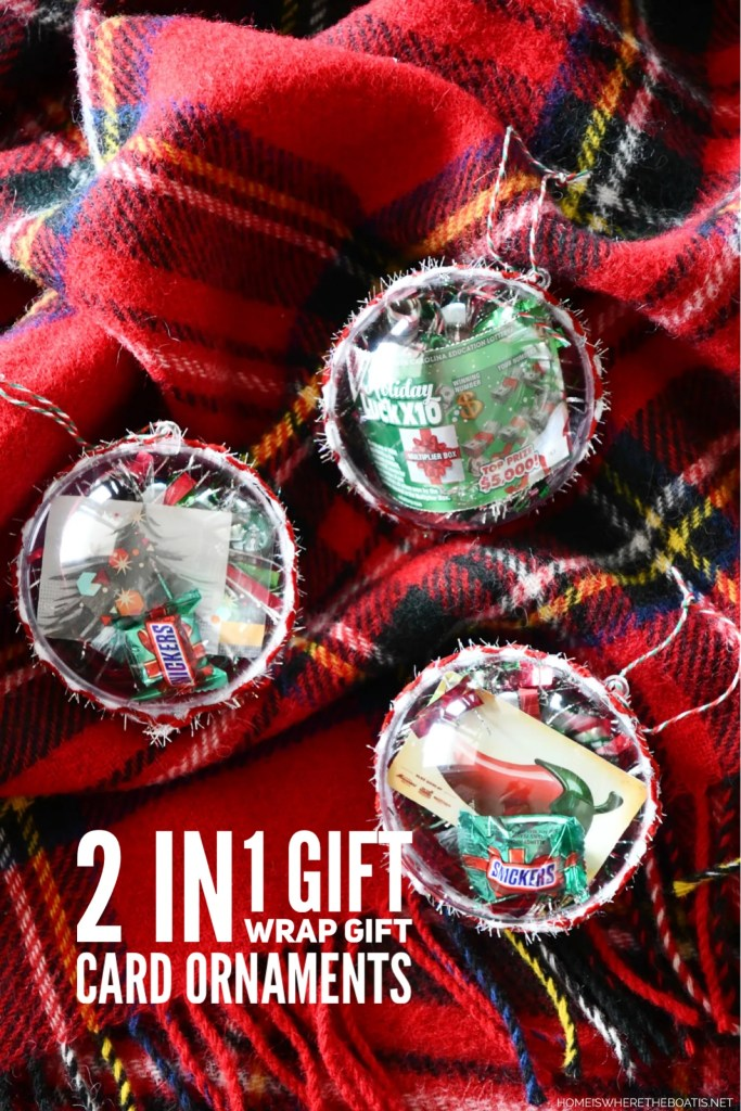 2 In 1 Gift Wrap Gift Card Ornaments | ©homeiswheretheboatis.net #christmas #giftwrap #ornament #DIY