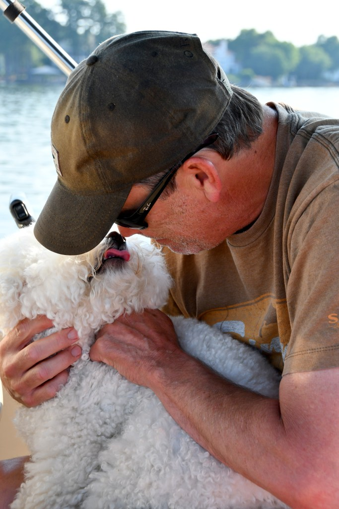 Lola in Captain's chair   ©homeiswheretheboatis.net #boating #lake #boatingwithdogs #bichonfrise