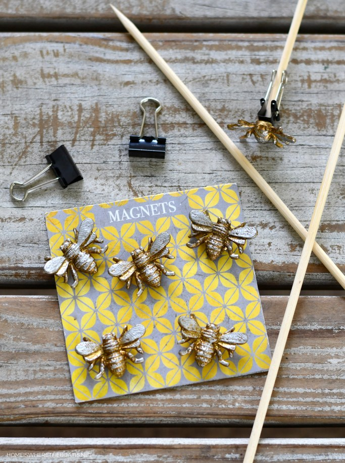 Bee magnets and binder clips on bamboo skewers for flower arrangement | ©homeiswheretheboatis.net #flowers #DIY #tablescape #bees #sunflowers #summer