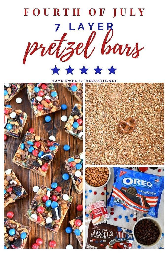 Fourth of July 7 Layer Pretzel Bars | ©homeiswheretheboatis.net #easy #dessert #bars #patriotic #july4th