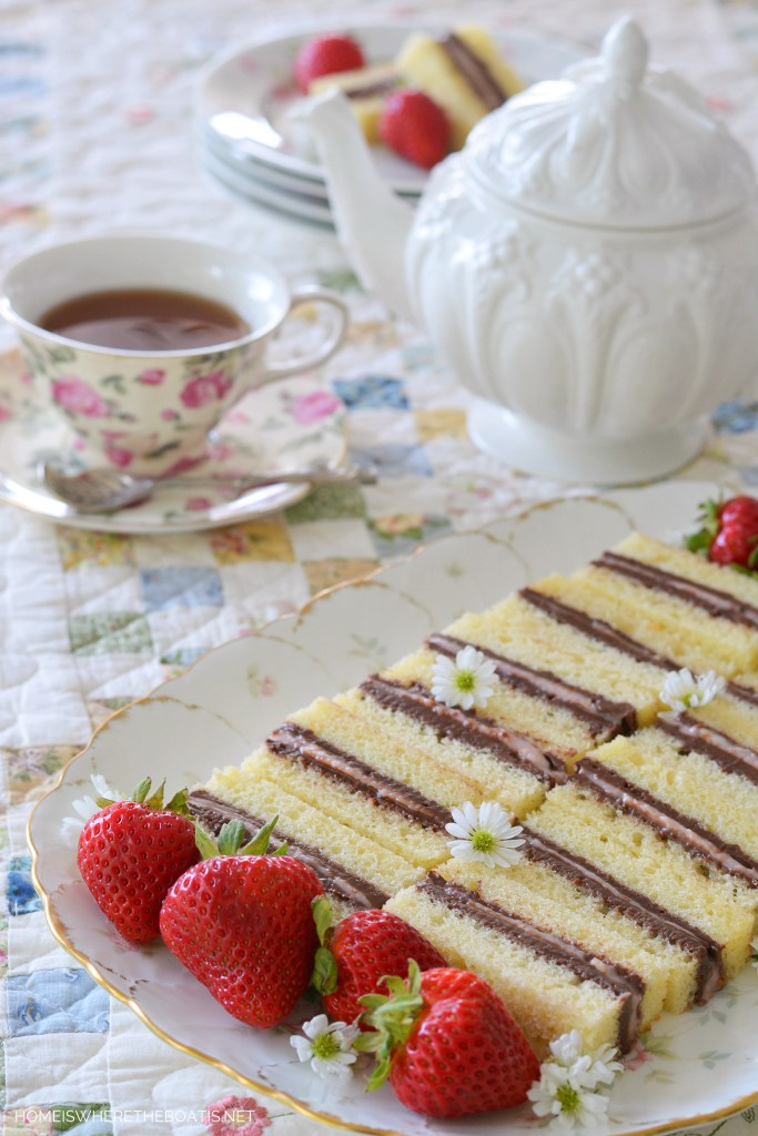 Pound Cake Tea Sandwiches! A no-bake teatime treat using store-bought ingredients, as easy to make and as they are to eat! | ©homeiswheretheboatis.net #teaparty #nobake #recipe #easy