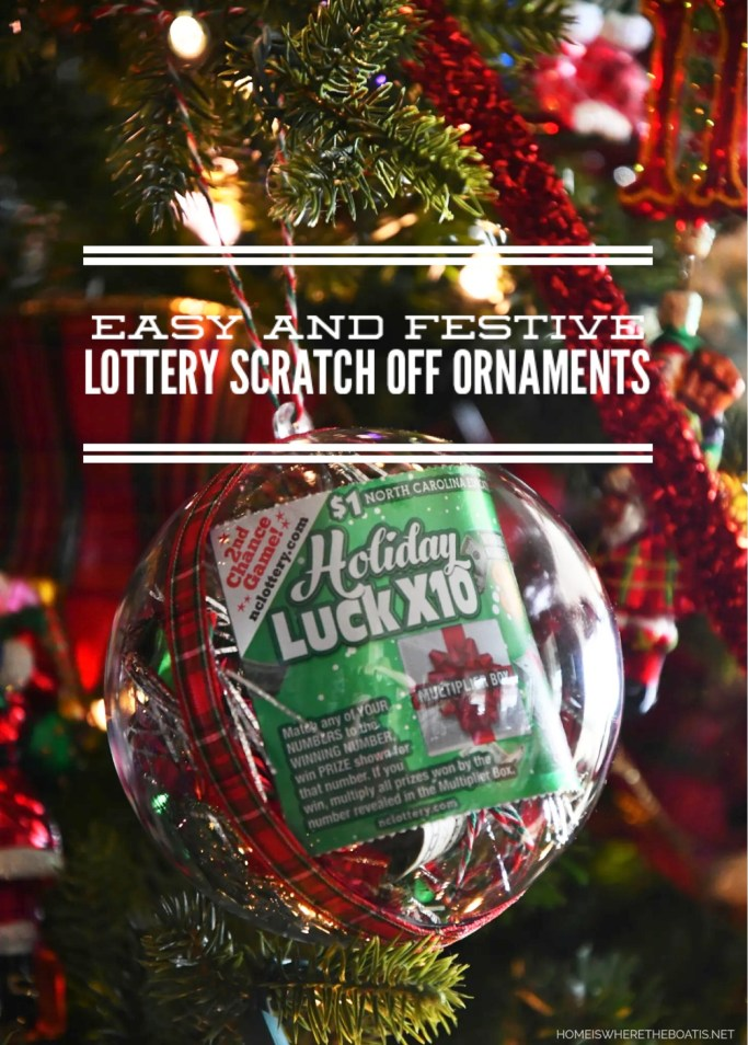 Easy and Festive Lottery Scratch Off Ornaments | ©homeiswheretheboatis.net #christmas #giftwrap #ornament #DIY