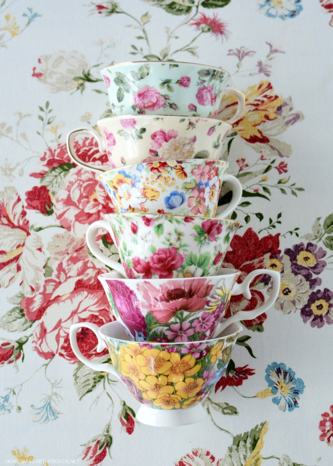 Tea Cups   ©homeiswheretheboatis.net #teaparty #giveaway