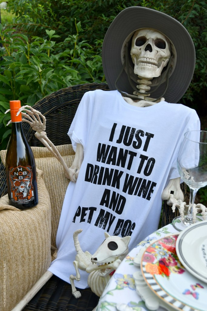 Halloween in August: Rod and Rowena Have a Tipple and a Tablescape   ©homeiswheretheboatis.net #skeleton #halloween #tablescape