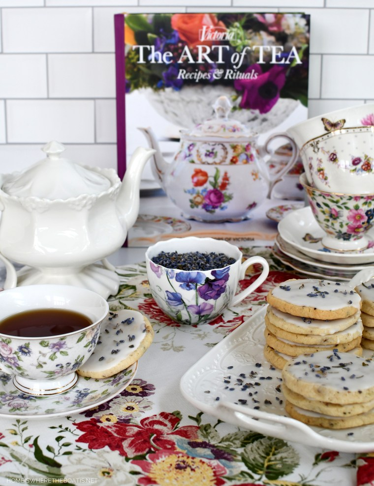 Victoria The Art of Tea and Melt-in-Your-Mouth Lavender-Pecan Shortbread Cookies | ©homeiswheretheboatis.net #teatime #shortbread #lavender #cookie #recipe