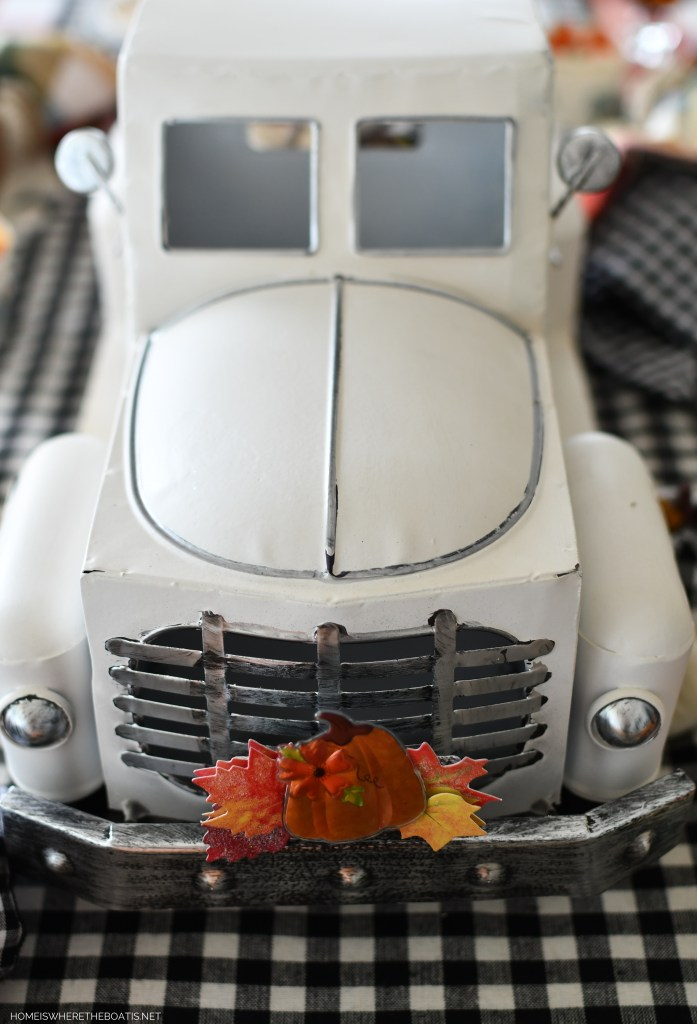 Whimsical Fall Table + Trucking to the Pumpkin Patch | ©homeiswheretheboatis.net #fall #tablescape #truck #pumpkins
