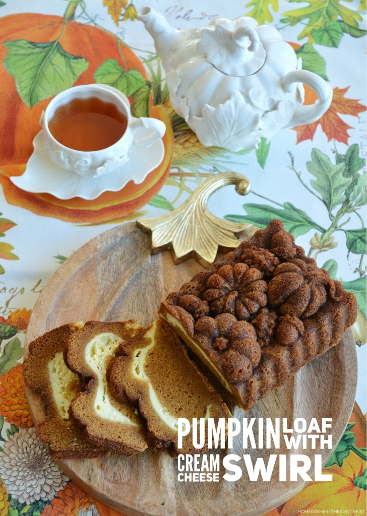 Pumpkin Loaf with Cream Cheese Swirl. A moist, spiced pumpkin cake with a tangy cream cheese layer, perfect for a fall morning, Thanksgiving weekend, or as afternoon treat with a cuppa!   ©homeiswheretheboatis.net #pumpkinspice #cake #Thanksgiving #fall #dessert #tea