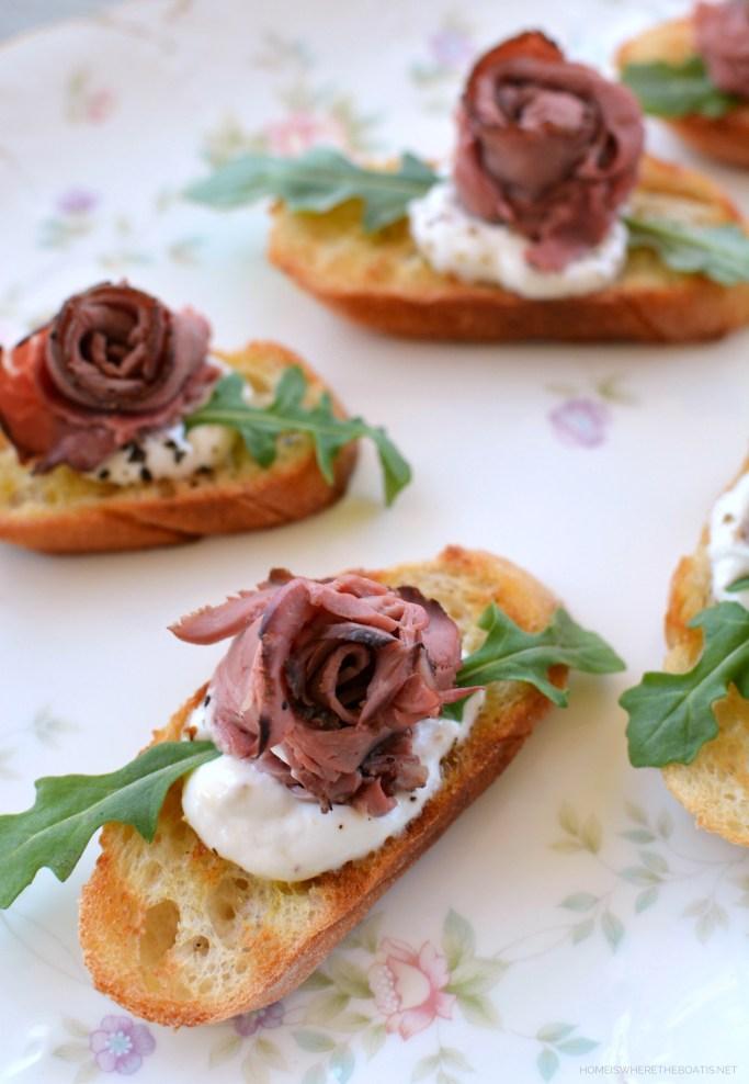 """Rose"" Beef Bites   ©homeiswheretheboatis.net #teaparty #recipes"