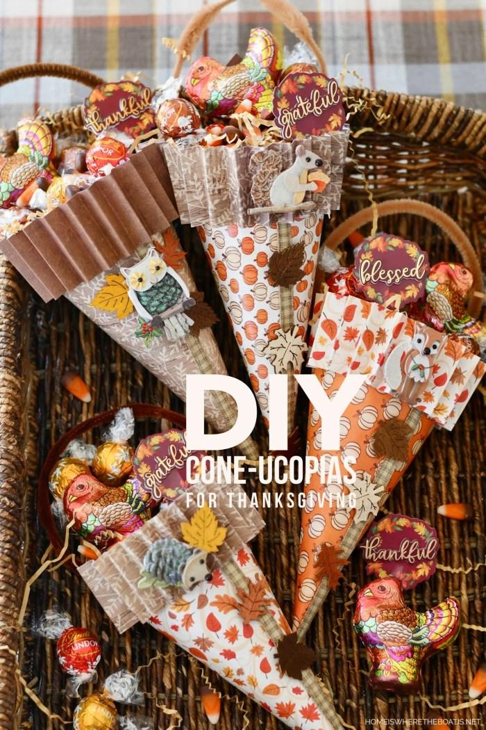 DIY Cone-ucopias for Thanksgiving | ©homeiswheretheboatis.net #DIY #craft #thanksgiving #scrapbookpaper