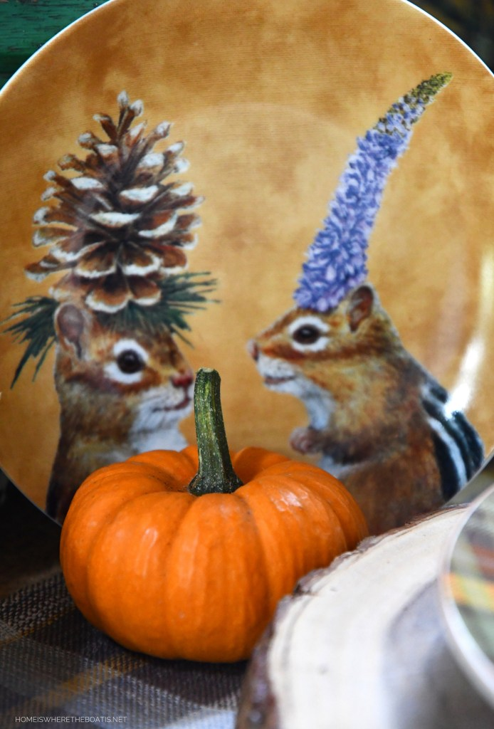 Chipmunks and Whimsical Fall Table with Woodland Friends in the Potting Shed | ©homeiswheretheboatis.net #fall #tablescape