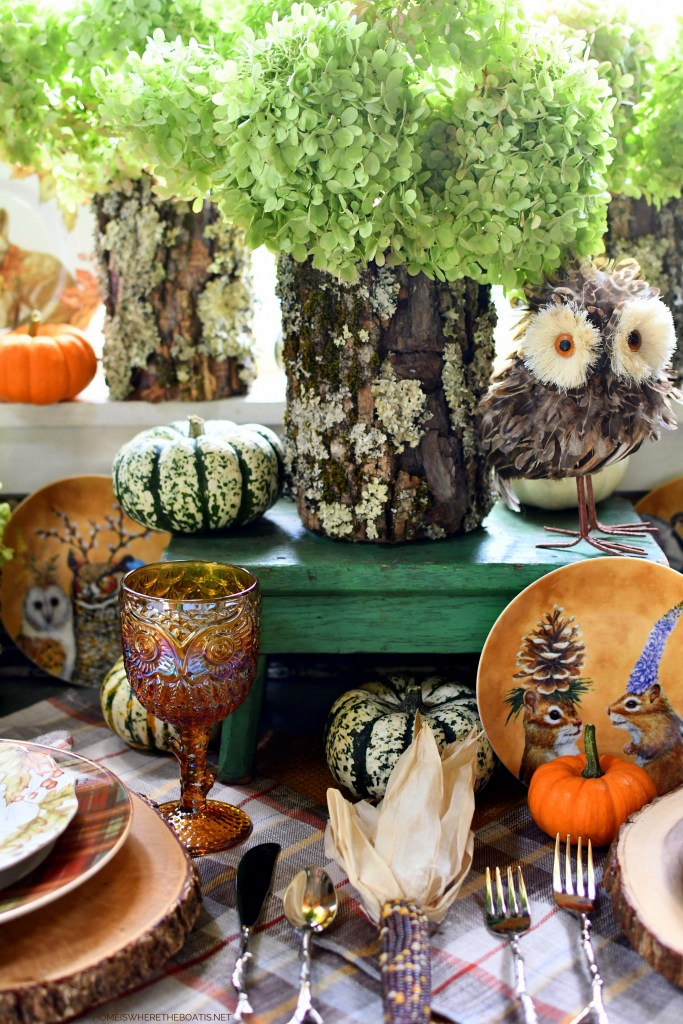 Whimsical Fall Table with Woodland Friends in the Potting Shed | ©homeiswheretheboatis.net #fall #tablescape #owls