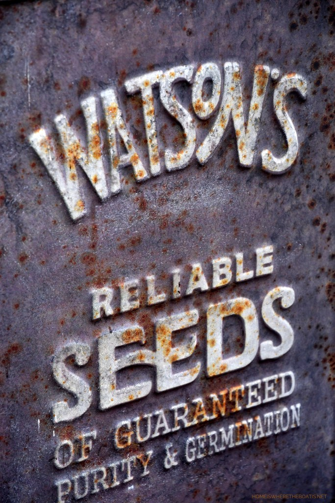 'Watson's Reliable Seeds of Guaranteed Purity & Germination' sign | ©homeiswheretheboatis.net #garden #fall #harvest #pottingshed