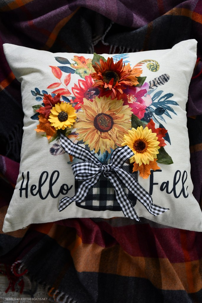 Hello Fall: Quick and Easy Embellished Pillow Cover | ©homeiswheretheboatis.net #fall #craft #DIY #pillow