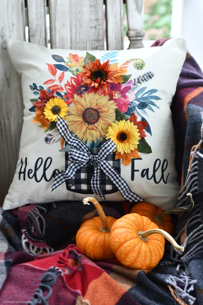 Hello Fall: DIY Quick and Easy Embellished Pillow Cover | ©homeiswheretheboatis.net #fall #craft #DIY #pillow
