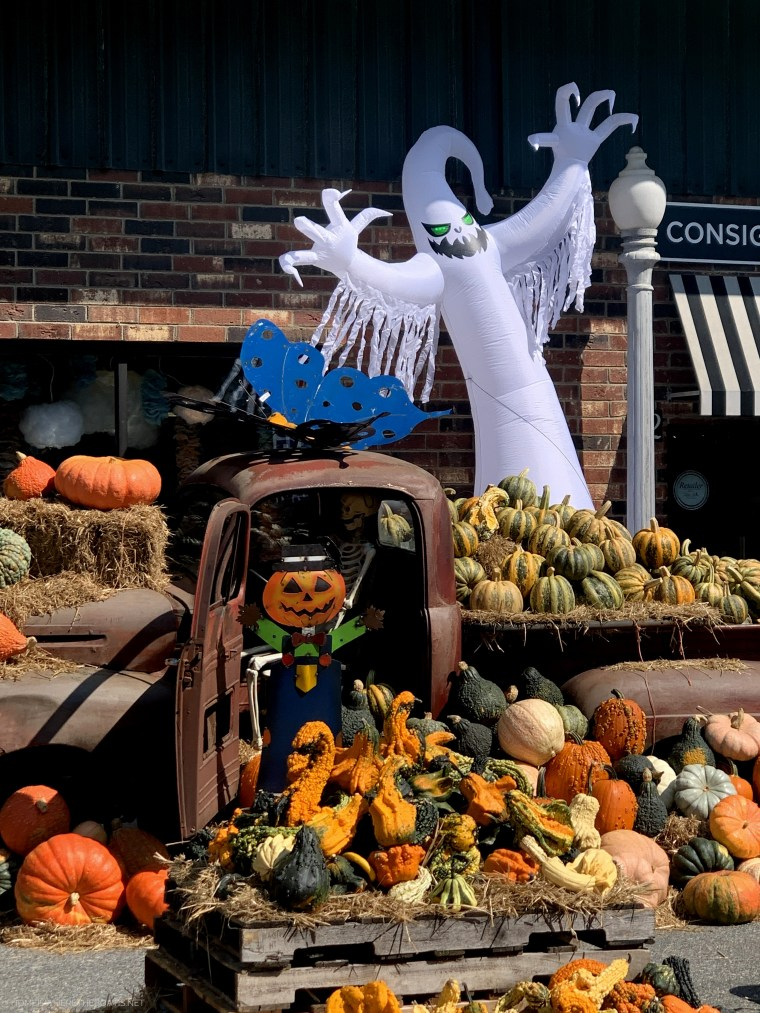 Favorite pumpkin patch with old truck, skeleton, ghosts, scarecrow and piles of pumpkins | ©homeiswheretheboatis.net #fall
