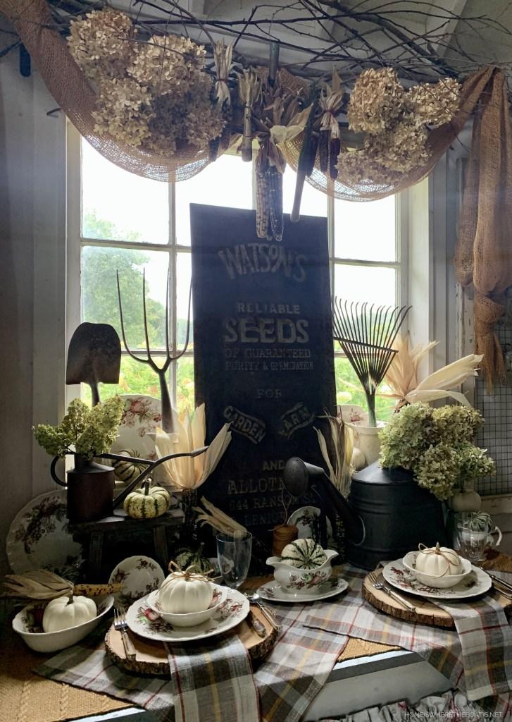 Harvest Time and Garden Table in the Potting Shed | ©homeiswheretheboatis.net #garden #fall #harvest #tablescape #pottingshed