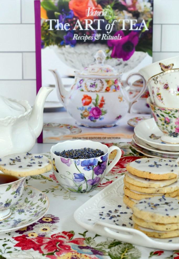 Teatime and Lavender-Pecan Shortbread Cookies | ©homeiswheretheboatis.net #teatime