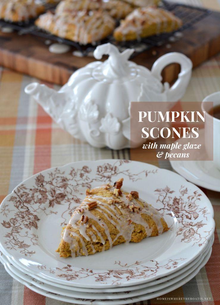 Pumpkin Scones with Maple Glaze and Pecans