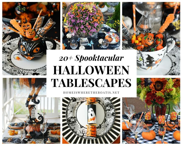 Find a round up of 20+ Spooktacular Halloween Tablescapes | ©homeiswheretheboatis.net #halloween #tablescapes