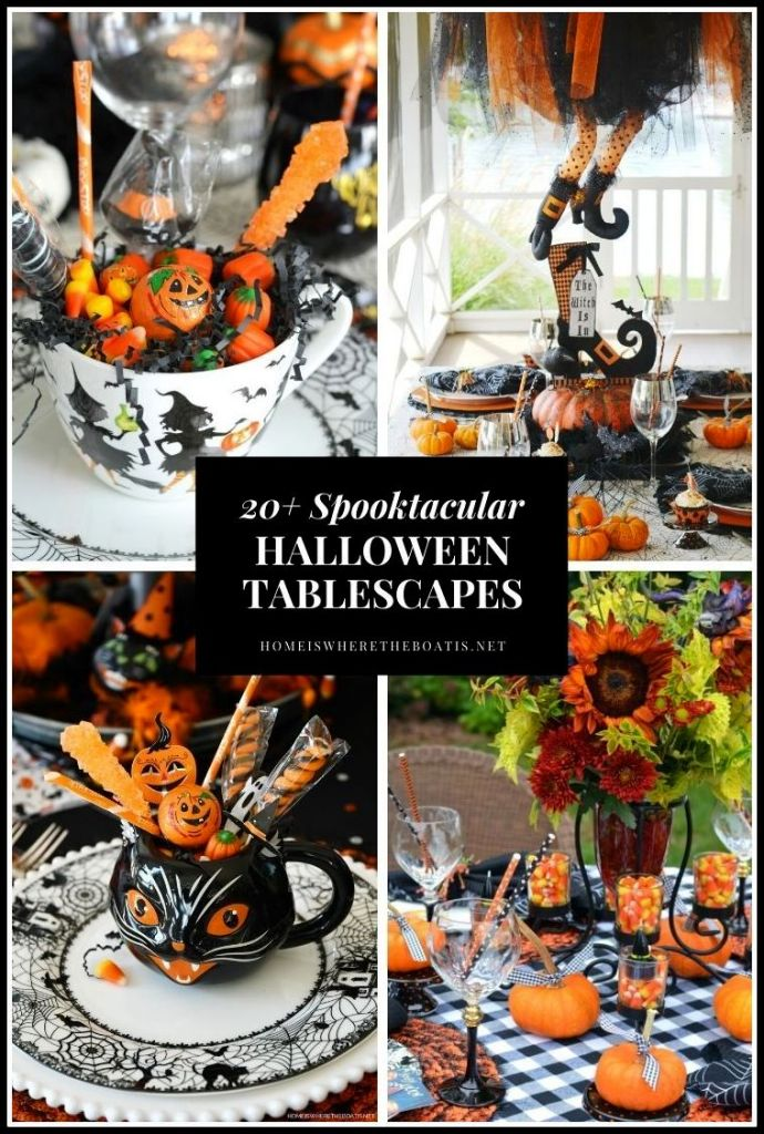 Find a round up of 20+ Halloween tablescapes. You'll find spooktacular inspiration for centerpieces, Halloween DIYs, candy vases, an umbrella witch, spooky cakes, Halloween treats and more! ©homeiswheretheboatis.net #halloween #tablescapes